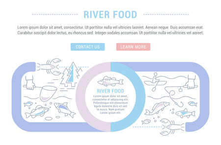Line illustration of river food. Concept for web banners and printed materials. Template with buttons for website banner and landing page.