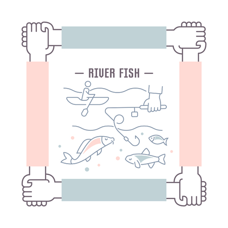 Line illustration of river fish. Concept for web banners and printed materials. Template for website banner and landing page.