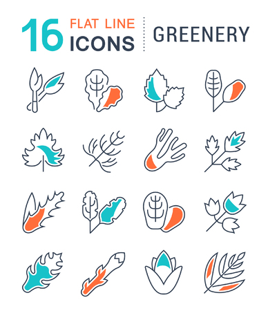 Set of vector line icons, sign and symbols with flat elements of greenery for modern concepts, web and apps. Collection of infographics logos and pictograms. Ilustracja