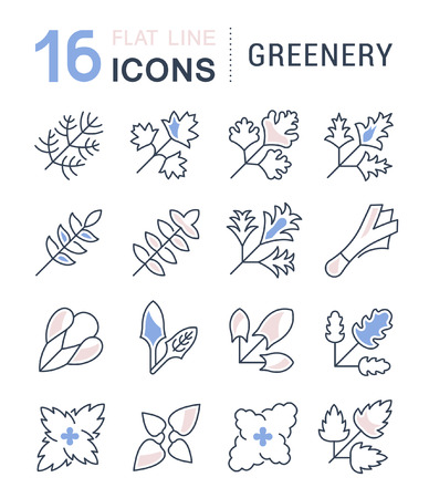 Set of vector line icons, sign and symbols with flat elements of greenery for modern concepts, web and apps. Collection of infographics logos and pictograms. Иллюстрация