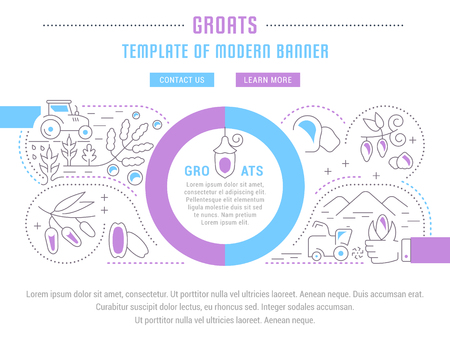 Line illustration of groats. Concept for web banners and printed materials. Template with buttons for website banner and landing page.