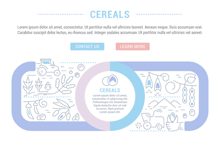 Line illustration of cereals. Concept for web banners and printed materials. Template with buttons for website banner and landing page.