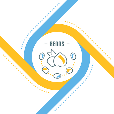 Line illustration of beans. Concept for web banners and printed materials. Template for website banner and landing page.