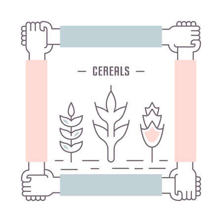 Line illustration of cereals. Concept for web banners and printed materials. Template for website banner and landing page. Çizim