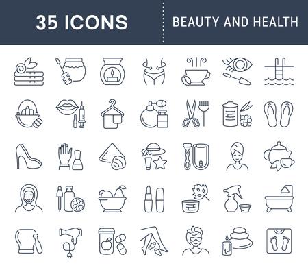 Set di icone vettoriali linea, segno e simboli di bellezza e salute per concetti moderni, web e applicazioni. Raccolta di elementi di infografica e pittogrammi.