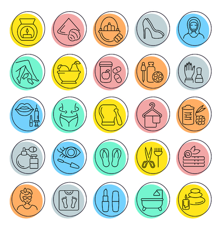 Set of outline signs and symbols of health and beauty. Collection vector line icons with colored circles. Simple linear pictogram pack for web graphics.