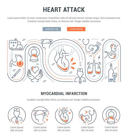 Line illustration of heart attack. Concept for web banners and printed materials. Template with buttons for website banner and landing page.