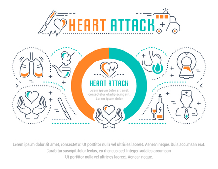 Line illustration of heart attack. Concept for web banners and printed materials. Template for website banner and landing page.