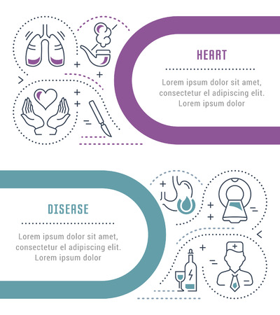 Line illustration of heart disease. Concept for web banners and printed materials. Template for website banner and landing page.
