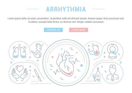 Line illustration of arrhythmia. Concept for web banners and printed materials. Template with buttons for website banner and landing page. Illustration