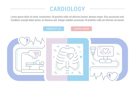 Line illustration of cardiology. Concept for web banners and printed materials. Template with buttons for website banner and landing page. Illustration