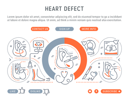 Line illustration of heart defect. Concept for web banners and printed materials. Template with buttons for website banner and landing page. Illustration