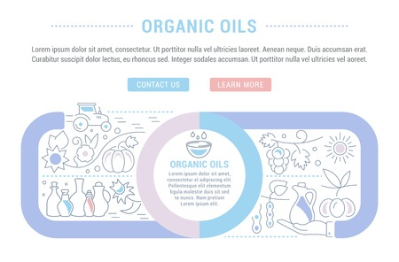 Line illustration of organic oils. Concept for web banners and printed materials. Template with buttons for website banner and landing page.