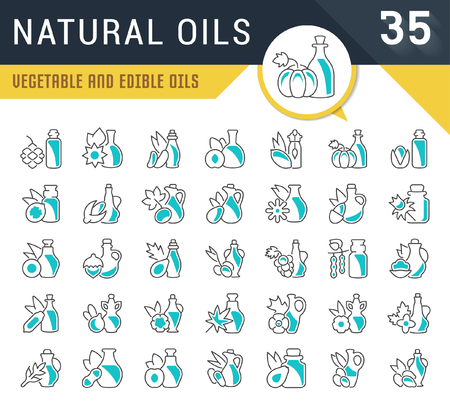 Set of vector line icons, sign and symbols of natural oils for modern concepts, web and apps. Collection of infographics logos and pictograms.