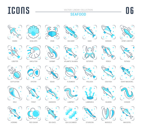 Collection of vector flat icons with thin line elements of oils. Set of clean design, and outline signs. Simple linear infographics and pictograms pack for web graphics and apps. Vettoriali
