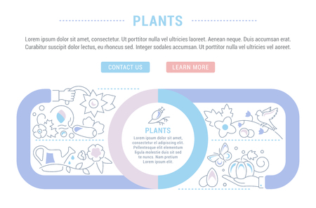 Line illustration of plants. Concept for web banners and printed materials. Template with buttons for website banner and landing page.