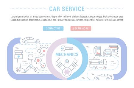 Lijnillustratie van de autoservice. Concept voor webbanners en drukwerk. Sjabloon met knoppen voor website banner en bestemmingspagina. Vector Illustratie