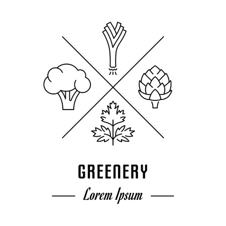 Vector greenery icon. Hipster emblem, label or banner for greenery. Line sign with elements. Concept brand.