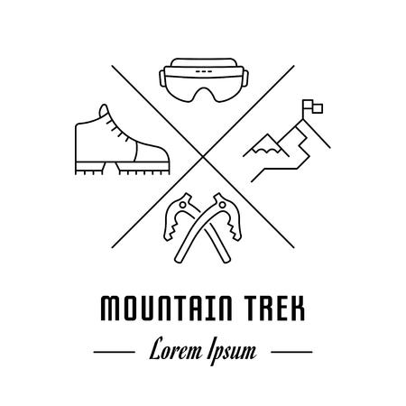 Vector logo mountain trek. Hipster emblem, label or banner for mountain trek. Line sign with elements. Concept brand. Illustration