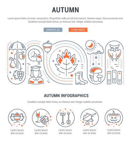 Line illustration of autumn. Concept for web banners and printed materials. Template with buttons for website banner and landing page.