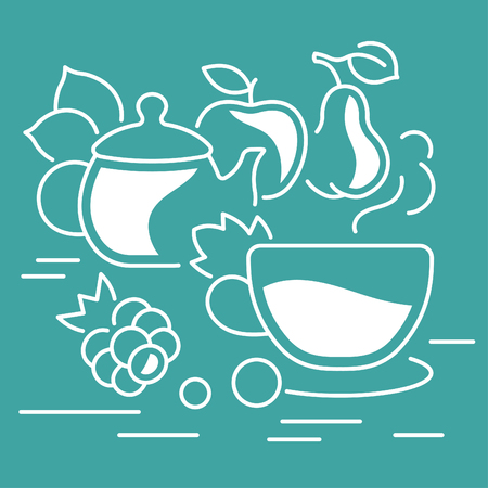 Line illustration of tea time. Concept for web banners and printed materials. Template for website banner and landing page.