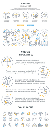 Line illustration of autumn. Concept for web banners and printed materials. Template for website banner and landing page.