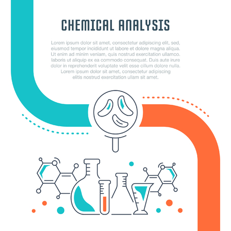 Line illustration of chemical analysis. Concept for web banners and printed materials. Template with buttons for website banner and landing page.