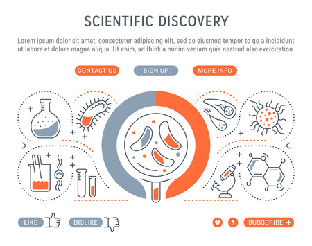 Line illustration of scientific discovery. Concept for web banners and printed materials. Template with buttons for website banner and landing page.
