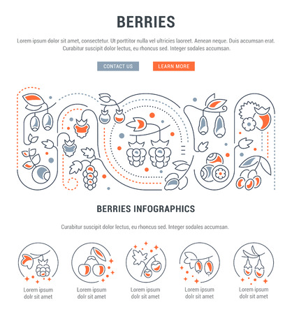 Line illustration of berries. Concept for web banners and printed materials. Template with buttons for website banner and landing page.