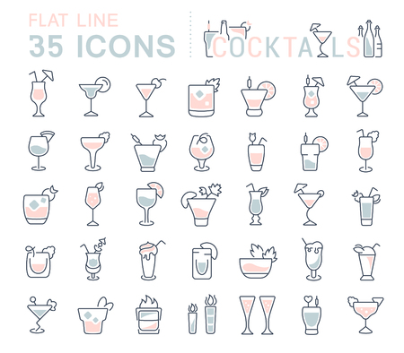 Set of vector line icons, sign and symbols with flat elements of cocktails for modern concepts, web and apps. Collection of infographics logos and pictograms. Illustration