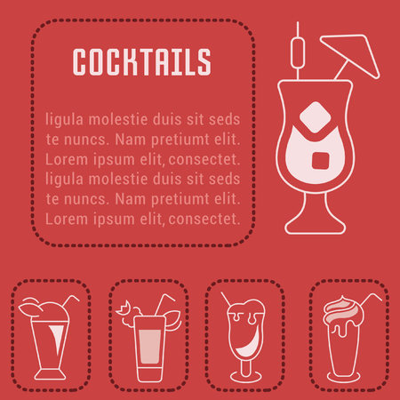 Line illustration of cocktails. Concept for web banners and printed materials. Template for website banner and landing page.