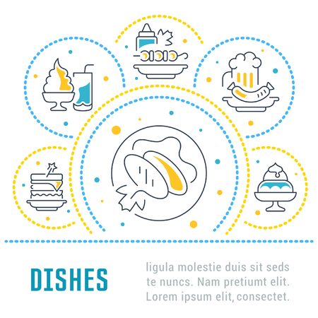 Line illustration of dishes. Concept for web banners and printed materials. Template for website banner and landing page. Ilustracja