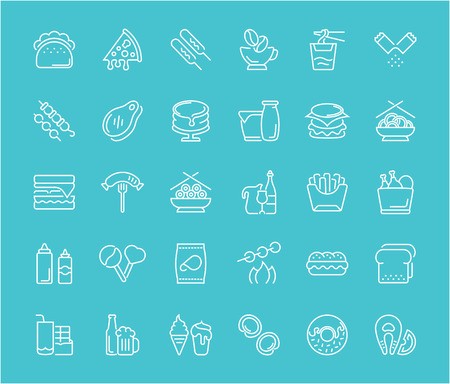 Collection of line white icons of fast food. Set of vector simple elements with bold outlines on a color background. Info graphics signs and pictograms.
