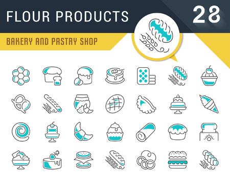 Set of vector line icons, sign and symbols of flour products for modern concepts, web and apps. Collection of infographics logos and pictograms.