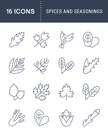 Set of vector line icons, sign and symbols with flat elements of greenery for modern concepts, web and apps. Collection of infographics logos and pictograms. Stockfoto - 96445499