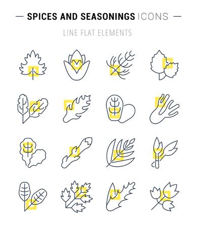 Set of vector line icons, sign and symbols with flat elements of greenery for modern concepts, web and apps. Collection of infographics logos and pictograms. Stock Illustratie