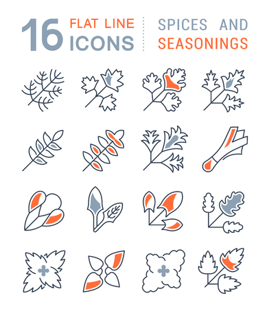 Set of vector line icons, sign and symbols with flat elements of greenery for modern concepts, web and apps. Collection of infographics logos and pictograms. Vectores