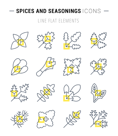 Set of vector line icons, sign and symbols with flat elements of greenery for modern concepts, web and apps. Collection of infographics logos and pictograms. Vettoriali