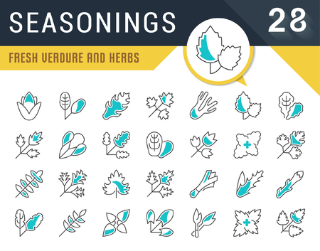 Set of vector line icons, sign and symbols of seasonings for modern concepts, web and apps. Collection of infographics logos and pictograms.
