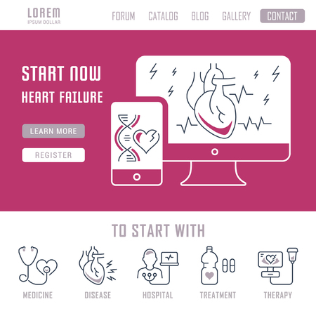 Line illustration of heart failure. Concept for web banners and printed materials. Template with buttons for website banner and landing page.
