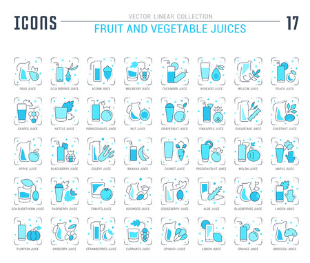 Collection of vector flat icons with thin line elements of fruit and vegetable juices. Set of clean design, and outline signs. Simple linear infographics and pictograms pack for web graphics and apps.