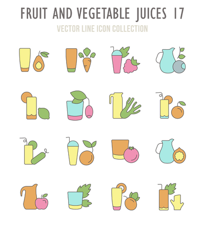 Collection vector flat icons with thin line elements. Set of modern, clean, outline signs, symbol and vector art of fruit and vegetable juices. Simple linear infographic and pictogram series for web.