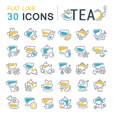 Set of vector line icons, sign and symbols with flat elements of tea for modern concepts, web and apps. Collection of info-graphics icon and pictograms. 向量圖像