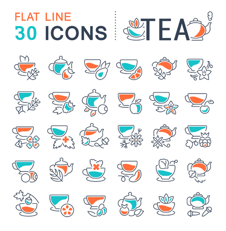 Set of tea icons collection