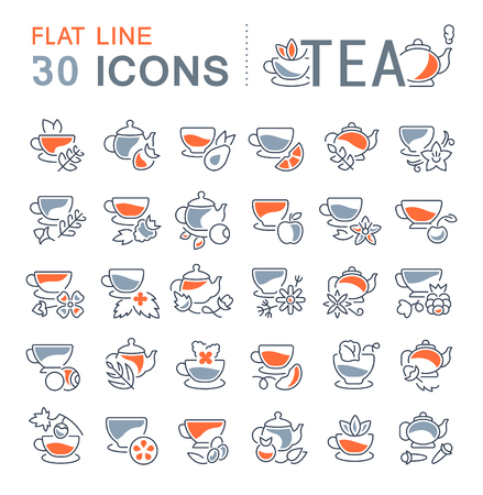 Set of vector line icons, sign and symbols with flat elements of tea for modern concepts, web and apps. Collection of info-graphics icon and pictograms. Illustration