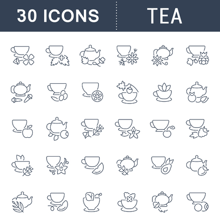 Set of vector line icons, sign and symbols of tea for modern concepts, web and apps. Collection of info-graphics elements, icon and pictograms.