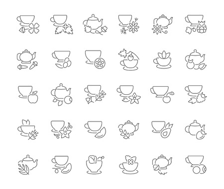 Collection of line gray icons of tea. Set of vector simple concepts for creative projects and apps. Info graphics elements and pictograms.