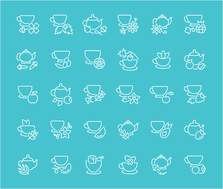 Collection of line white icons of tea. Set of vector simple elements with bold outlines on a color background. Info graphics signs and pictograms.
