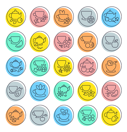 Set of outline signs and symbols of tea. Collection vector line icons with colored circles. Simple linear pictogram pack for web graphics. 向量圖像