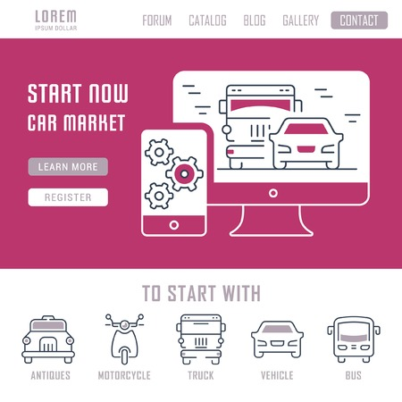 Line illustration of car market. Concept for web banners and printed materials. Template with buttons for website banner and landing page.